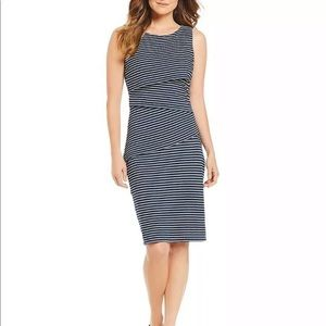 J McLAUGHLIN Navy White Stripe Midi Dress XS